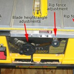 DeWalt table saw controls