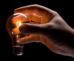 Light bulb burning with filament